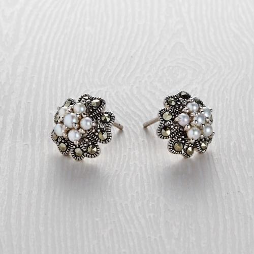 Freshwater Marcasite 6 Pearl Stud Earrings