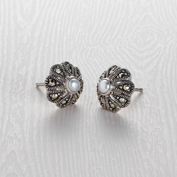 Marcasite Flower Stud Earrings