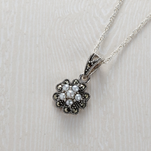 Freshwater Marcasite 6 Pearl Pendant