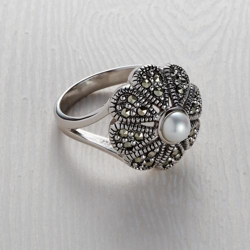 Freshwater Marcasite Flower Pearl Ring